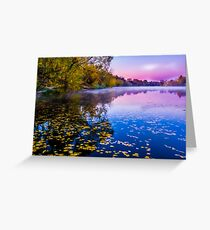 Foggy early morning on the river Greeting Card