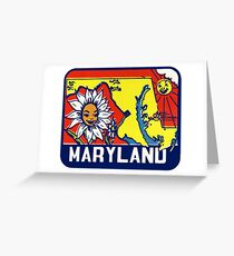Maryland MD State Vintage Travel Decal Greeting Card