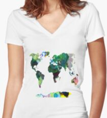 Watercolour Map Women's Fitted V-Neck T-Shirt