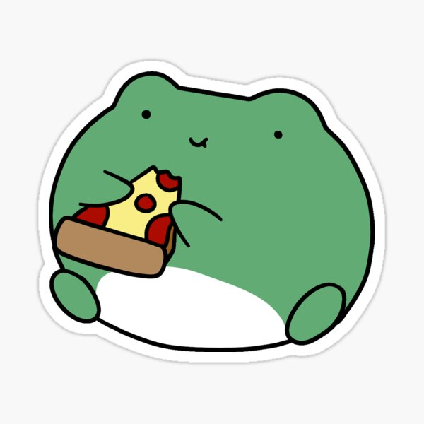 Frog Eating Pizza Sticker