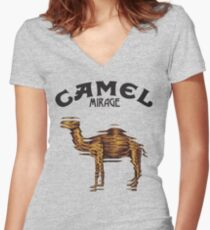 Camel Mirage Band Women's Fitted V-Neck T-Shirt