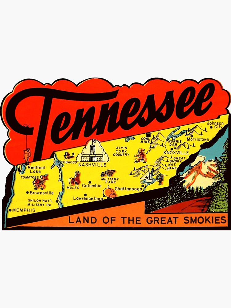 Tennessee TN State Map Vintage Travel Decal by hilda74
