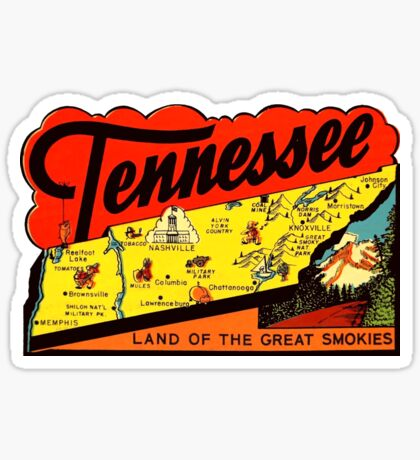Tennessee TN State Map Vintage Travel Decal Sticker