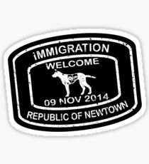 Republic of Newtown - 2014: Sticker White on Black Sticker