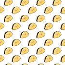 Taco Pattern White Background by Claire Lordon