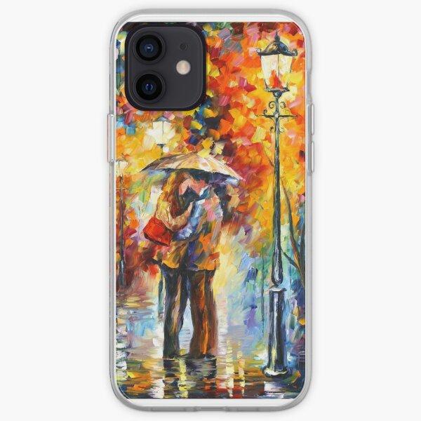 KISS UNDER THE RAIN - Leonid Afremov iPhone Soft Case