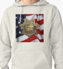 California Highway Patrol - CHP Police Officer Badge over American Flag Pullover Hoodie