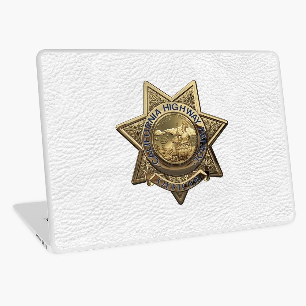 Patrulla de Caminos de California - Placa de Oficial de Policía de CHP sobre Cuero Blanco Vinilo para portátil
