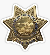 California Highway Patrol - CHP Police Officer Badge over White Leather Sticker