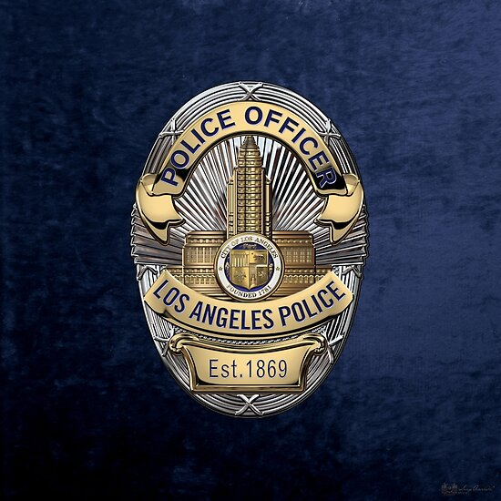 Los Angeles Police Department - LAPD Police Officer Badge over Blue Velvet by Serge Averbukh