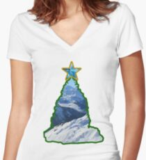 Christmas Tree Snow Scene Women's Fitted V-Neck T-Shirt
