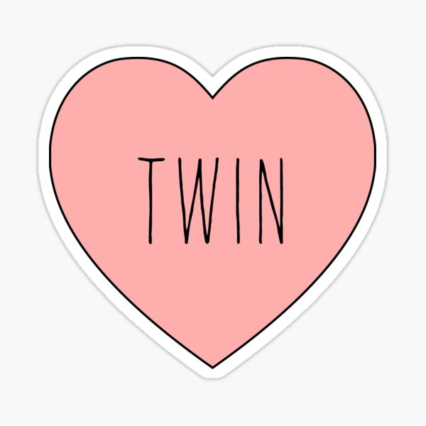 I Love Twin Heart | Black Variant Sticker