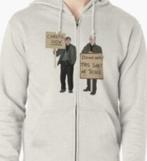 """DOWN WITH THIS SORT OF THING...Careful Now""  Zipped Hoodie"