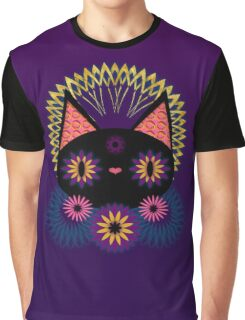 Dark Floral Feline Charm Graphic T-Shirt