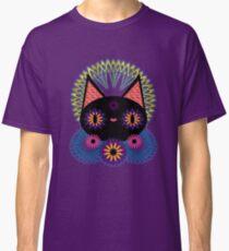 Dark Floral Feline Charm Classic T-Shirt