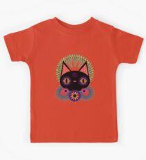 Dark Floral Feline Charm Kids Tee