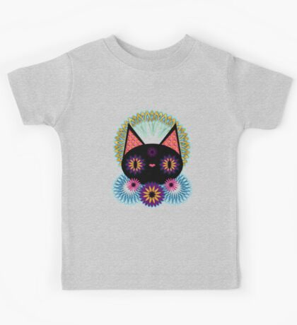 Dark Floral Feline Charm Kids Clothes