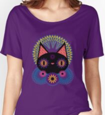Dark Floral Feline Charm Women's Relaxed Fit T-Shirt