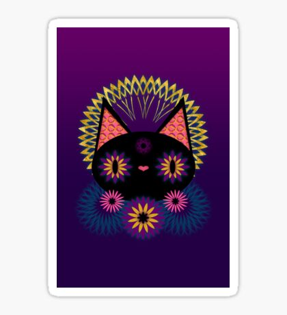Dark Floral Feline Charm Sticker