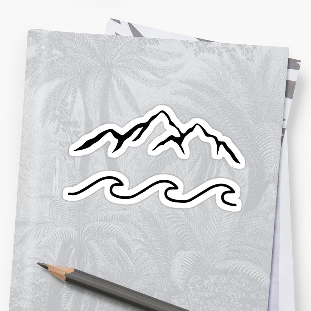 Montañas y mar Pegatina