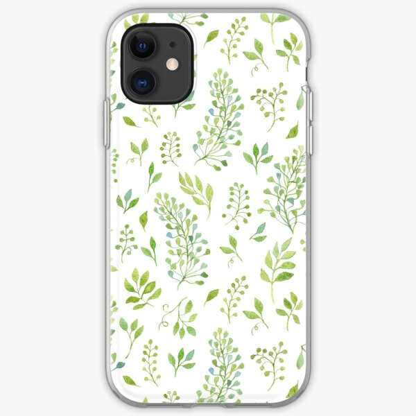 Watercolor leaves pattern iPhone Soft Case