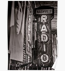 Radio Nashville - monochrome Poster