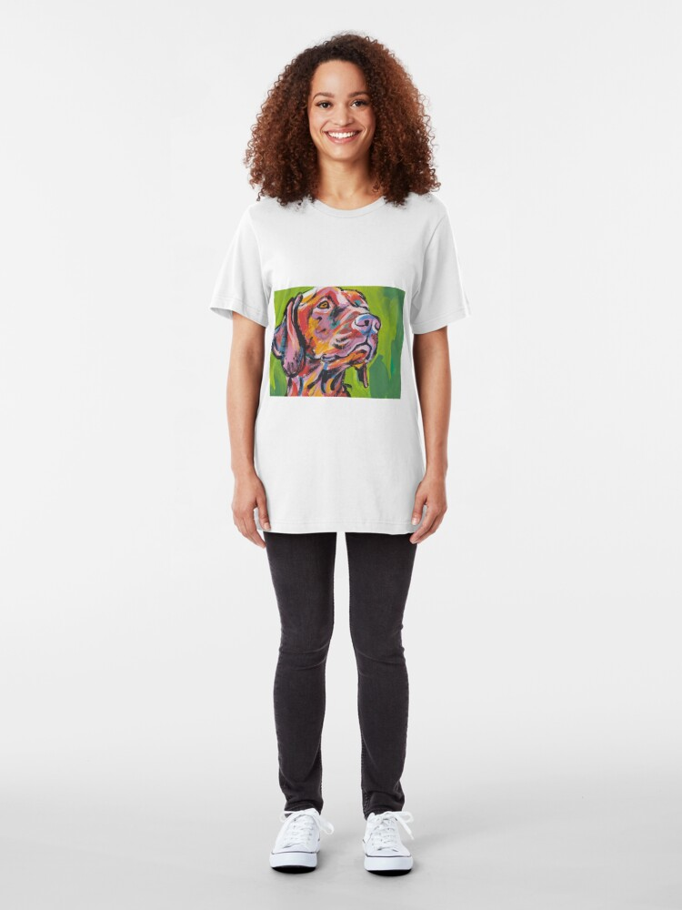 Vista alternativa de Camiseta ajustada Vizsla Dog Arte pop colorido brillante