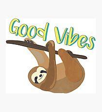 Sloth Good Vibes Photographic Print