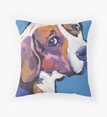 Beagle Dog Bright colorful pop dog art Throw Pillow