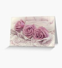 Happy Birthday Sis - Roses and Beaded Lace  Greeting Card