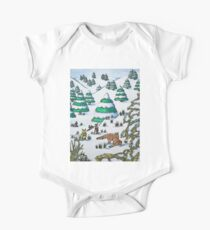 cute fox and rabbits christmas snow scene One Piece - Short Sleeve