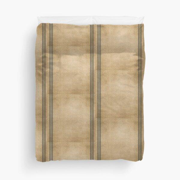 Burlap Feed sack Blue stripes Duvet Cover