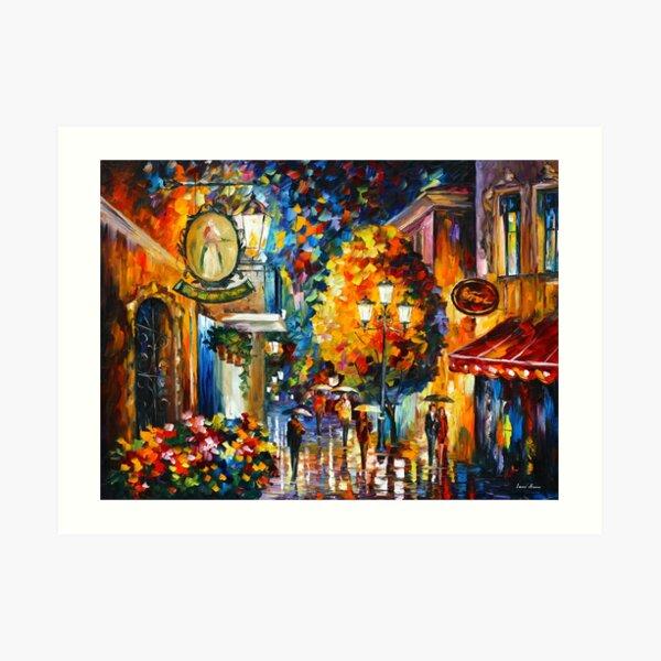 CAFE IN THE OLD CITY - Leonid Afremov Art Print