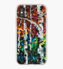 Colourful Autumn Fall Aspen Birch Tree Painting iPhone Case