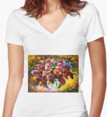 SPRING LILAC - Leonid Afremov Women's Fitted V-Neck T-Shirt