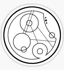 """Geronimo"" - 11th doctor's catchphrase - Circular Gallifreyan Sticker"