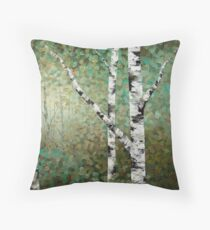 Colourful Autumn Fall Aspen Birch Tree Painting Throw Pillow