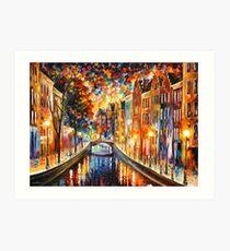 AMSTERDAM - NIGHT CANAL - Leonid Afremov Art Print