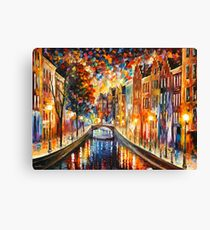 AMSTERDAM - NIGHT CANAL - Leonid Afremov Canvas Print