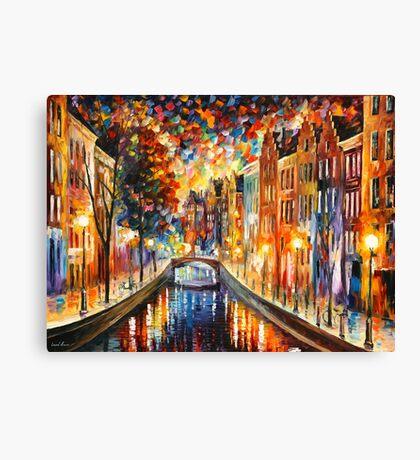AMSTERDAM - NIGHT CANAL - Leonid Afremov Canvas Print