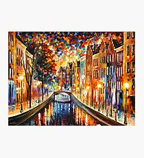 AMSTERDAM - NIGHT CANAL - Leonid Afremov Photographic Print