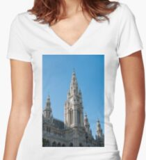 Vienna Austria The Neo Gothic Rathaus (Town Hall) Women's Fitted V-Neck T-Shirt