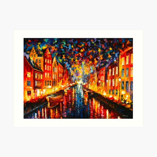 NIGHT COPENHAGEN - Leonid Afremov Art Print