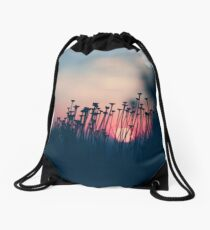 beach sunset Drawstring Bag