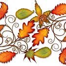 Autumn Leaves - panel by Susan Sowers