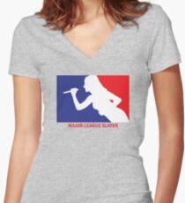 Major League Slayer Women's Fitted V-Neck T-Shirt