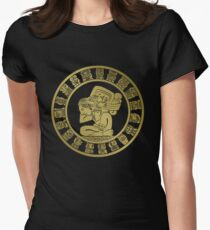 Mayan calendar in the style of boho Women's Fitted T-Shirt