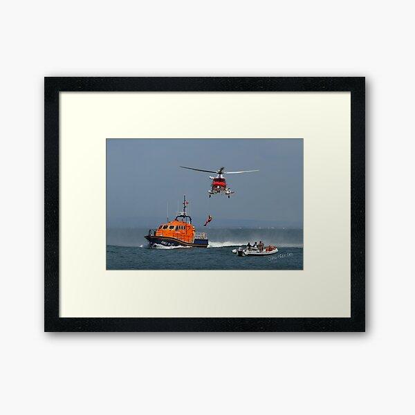 Bembridge Lifeboat & Helicopter Framed Art Print