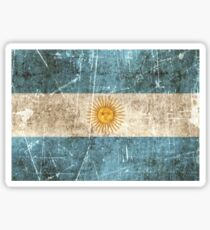 Vintage Aged and Scratched Argentinian Flag Sticker