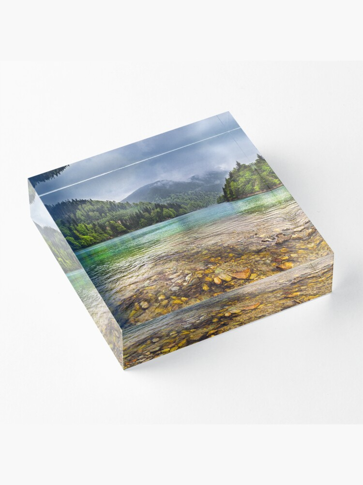 Alternate view of Lake in mountains, in a rainy day Acrylic Block